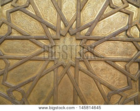 Stunning Moroccan Pattern of the Royal Palace Brass Door in Fez, Morocco, Background, Pattern
