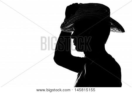 Young Man Holds The Hand Hat Silhouette