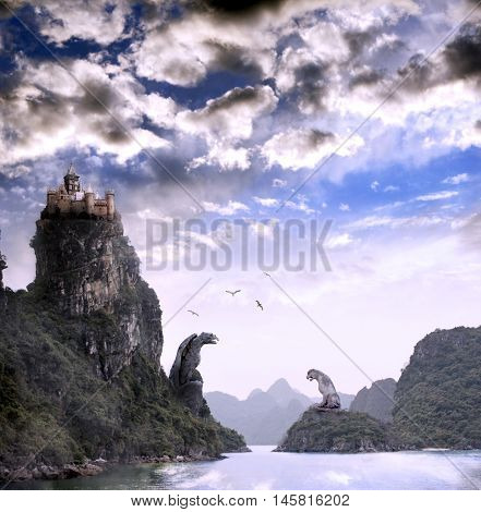 Beautiful fantasy landscape with the river, high mountains, storm sky, birds, old castle and giant stone statues of an eagle and a lion