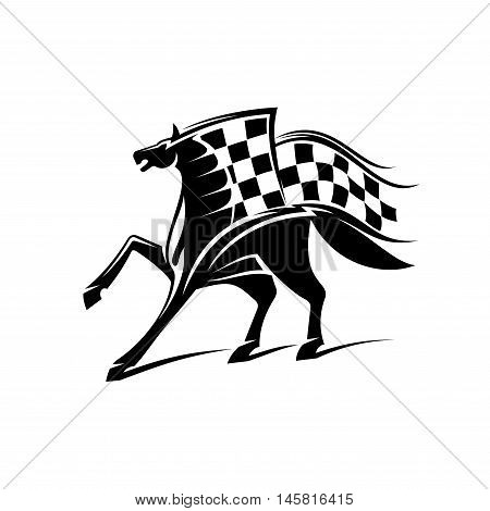 Horse with checkered flag. Horse racing vector emblem for car races icon, sport club label, bookmaker signboard, team shield, badge