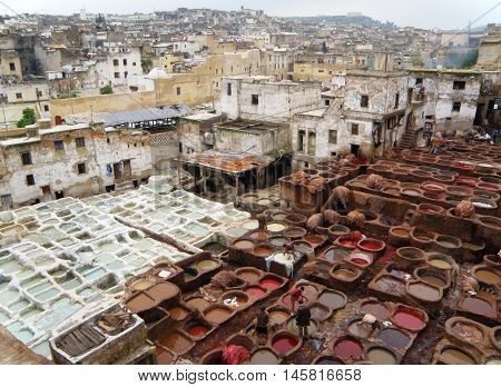 Amazing View of White and Red Brown Dye Pits of the Leather Factory in Fez of Morocco