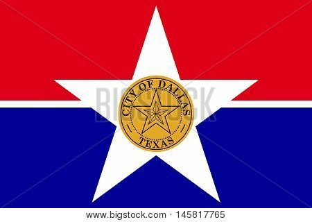 Flag of Dallas is a major city in the state of Texas United States