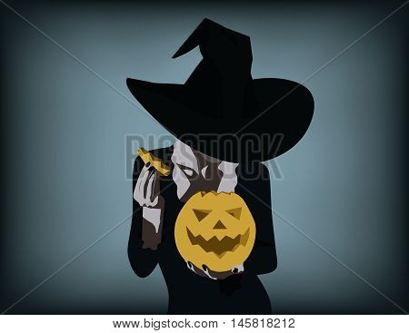 Woman In Witch Costume Opens Carved Halloween Pumpkin. Concept Halloween Illustration. Vector Flat