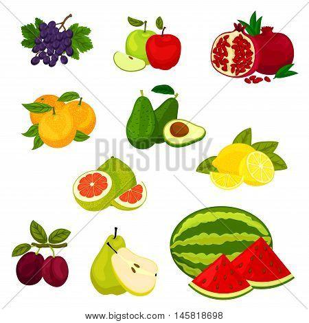 Fruits icons. Isolated vector fresh fruits grape, apple, pomegranate, orange, avocado, lemon pomelo lemon plum pear watermelon