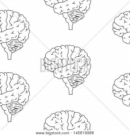 Human brain sketch style seamless pattern illustration, isolated on white background