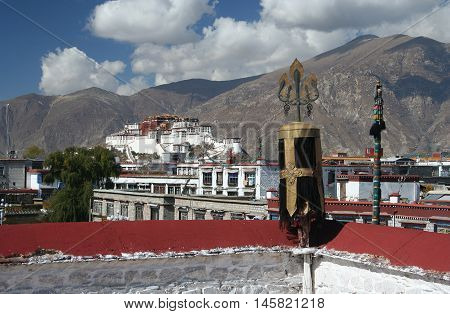 Panorama Potala palace from roof of Jokhang Temple, Tibet, Lhasa