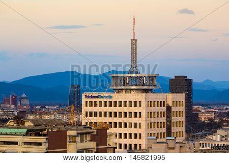 Ljubljana - February 2016, Slovenia: One of the highest buildings of Slovenia (Telekom Slovenije) with telecomunication antenna on the top