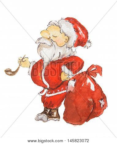 Watercolor Santa Claus. Funny haughty Santa with sack and glasses and smoking pipe. Red suit and white beard. Symbol of New Year and Christmas.