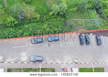 Aerial view of the parking lot next to the infield