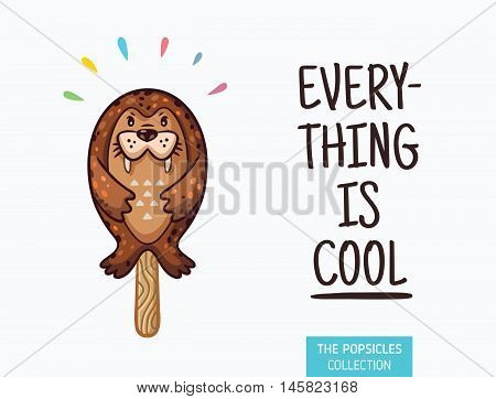 Everything is cool. Seal popsicle yummy fresh summer desert in cartoon style.