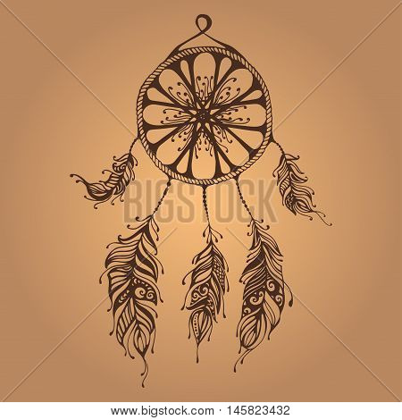 Hand Drawn Dreamcatcher. Abstract Background With Feathers. Ethnic Design For Card, Invitation, Part