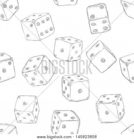 Vector Seamless Pattern Background Of Sketch Dices
