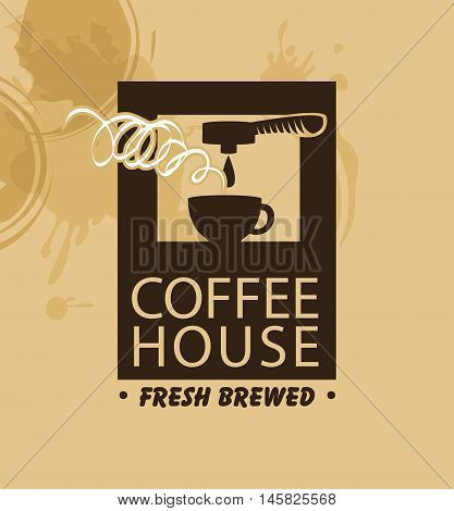 vector banner with a coffee machine and a cup