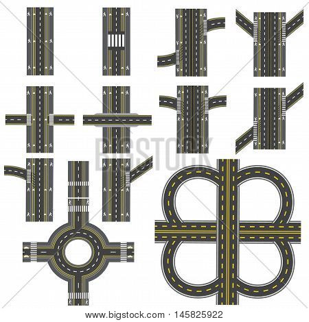 Set of different road sections with a circular roundabout isolation. Transitions, turns and various intersections. series depicts the sidewalks, marked bicycle lanes. View from above. Vector illustration