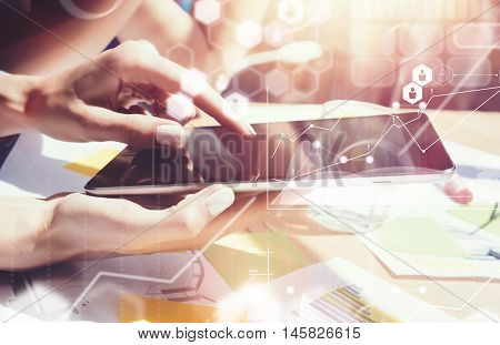 Global Connections Virtual Icon Graph Interface Marketing Researching Process.Business People Diverse Brainstorm Meeting Concept.Woman Working Smartphone Tablet Wood Table.Young Team Startup Sharing
