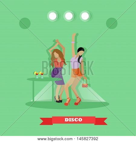 Two sexy girls dancing around table in night club. Disco dance concept vector banner in flat style design.