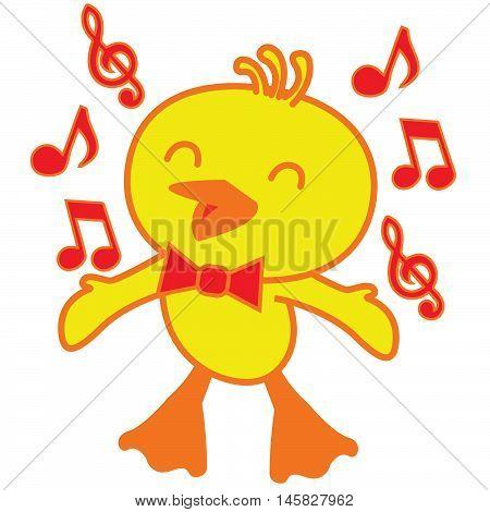 Bird sing song Illustration vector art design