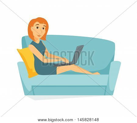 Woman on the sofa with laptop. Business women work at home on sofa. Young woman buys online store using a laptop. Girl learn online on a computer sitting on sofa . Home leisure. Relax on the couch