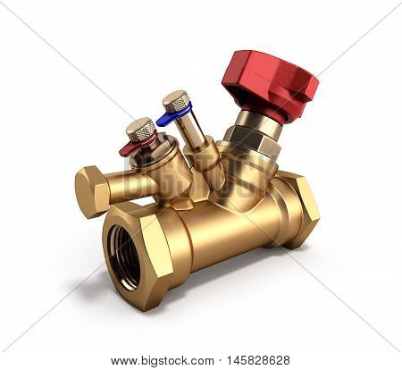 Balancing Valve With Drain For Plumbing 3D Rendering On A White Background