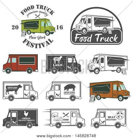 Food truck street festival emblems and logos set. Vector illustration
