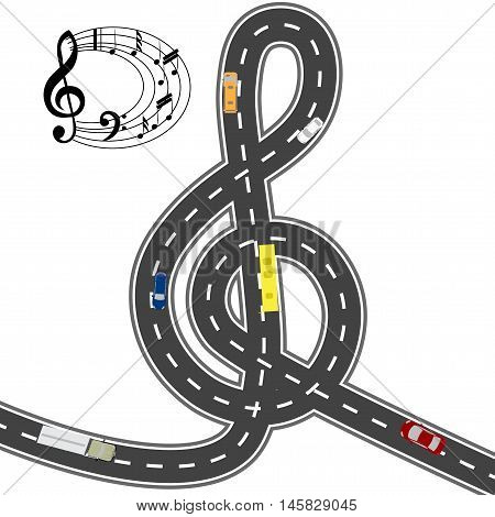 Musical automotive equipment. With the music the way seems shorter. Humorous image. Vector illustration