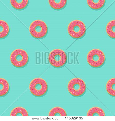 Vector seamless pattern with pink donuts with glaze and sprinkles on blue background. Candy decoration color donuts collection. Glazed pastry delicious snack, eat candy.