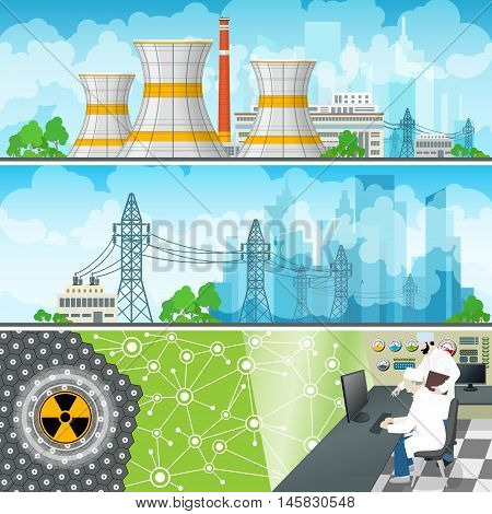 Nuclear Power Plant Horizontal Banners, Nuclear Reactor and Power Lines, Nuclear Station Supplies Electricity to the City, People Near the Control Panel on a Thermal Power Station, Vector