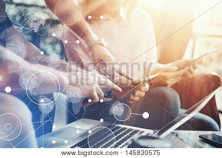 Global Connection Virtual Icon Graph Interface Marketing Research.Young Coworkers Team Analyze Meeting Report Electronic Gadget.Businessman Startup Online Markets Project.Closeup Blurred Background