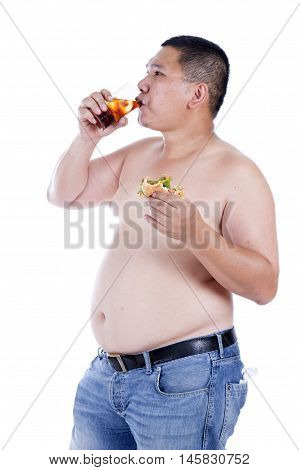 Belly fat people at large from eating behaviors. Junk food. Enjoy eating
