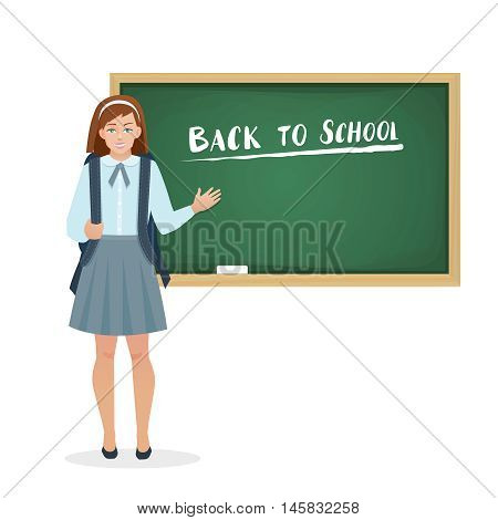 Schoolgirl in the form of stands at the blackboard. Vector illustration in flat style.