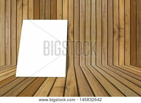 Empty White Poster Frame Put On Old Grunge Texture Wooden Interior Room For Present Product, Perspec