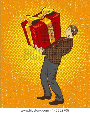 Man holds big gift box. Vector illustration in retro comic pop art style. A guy with christmas or birthday gift.
