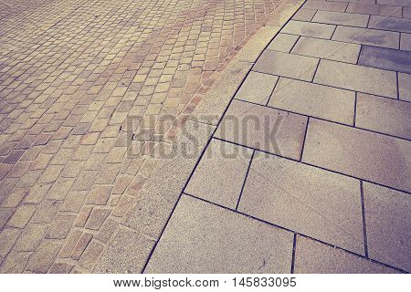 Vintage Toned Street Curb And Pavement.