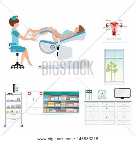 Doctor checking patient on Gynecological chair in gynecological room health care and medical conceptual vector illustration.