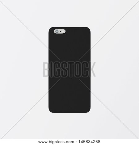 Closeup One Blank Black Clean Template Plastic Cover Phone Case Smartphone Mockup.Generic Design Mobile Back Isolated White Empty Background.Ready Corporate Logo Label Message.3d rendering