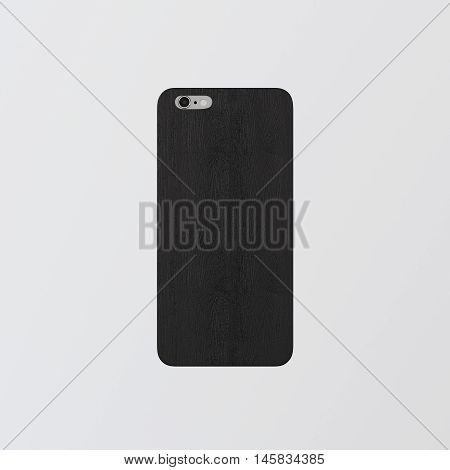 Closeup One Blank Black Clean Template Cover Phone.Highly Textured Natural Wood Case Smartphone Mockup.Generic Design Mobile Back Isolated Empty White Background.Corporate Logo Message.3d rendering