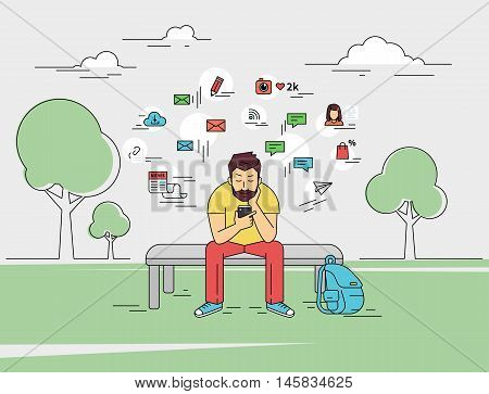 Young man is sitting with smartphone outdoors. Flat outlined illustration of sending a message via chat to someone via chat with social media signs such as email, chat bubbles, blog, news around him