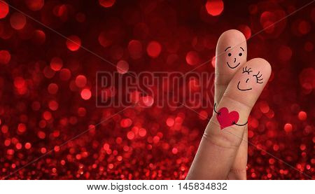 Valentines, wedding day concept. Painted fingers pretending happy couple in love with copy space