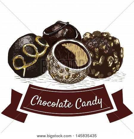 Vector illustration colorful set with chocolate candy. Illustration various of chocolate candy products on white background