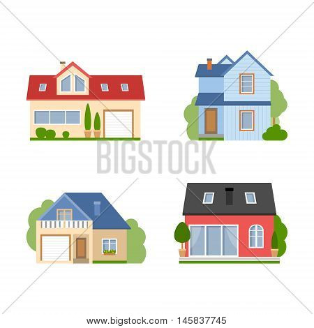 Isolated house set. Simple suburban house. Concept of real estate, property and ownership. Four different colorful houses.