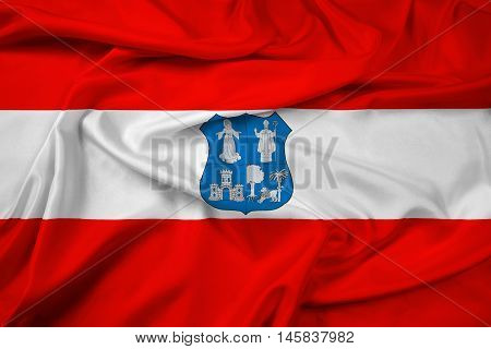 Waving Flag of Asuncion Paraguay, with beautiful satin background.