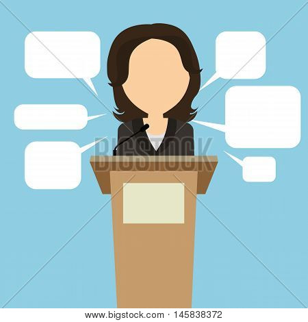 Female speaker with speech bubbles. Concept of debates, seminar or election. Politician speaker with podium. poster