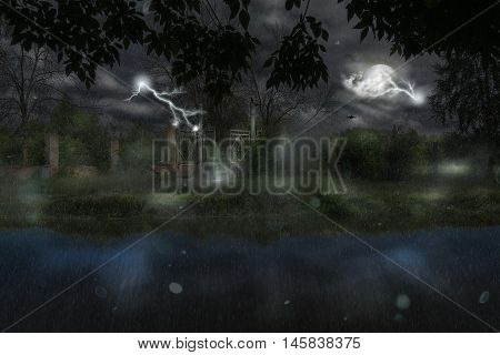 Gate At Rainy Night