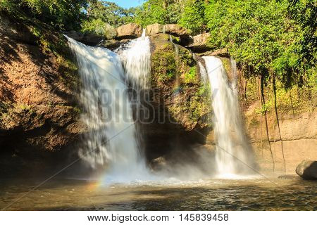 A beautiful waterfall in tropical rain forest Thailand.