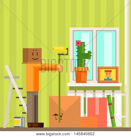 Man With Carton Box Mask Painting The Ceiling In New Apartment Pixelated Illustration. Minimalistic 8-bit Style Bright Color Illustration OF Resettlement Process.