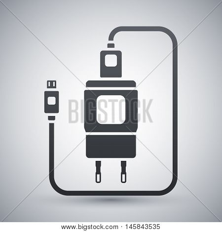 Vector Charger For Phone With Micro Usb Connector Icon. Simple Icon On A Light Gray Background