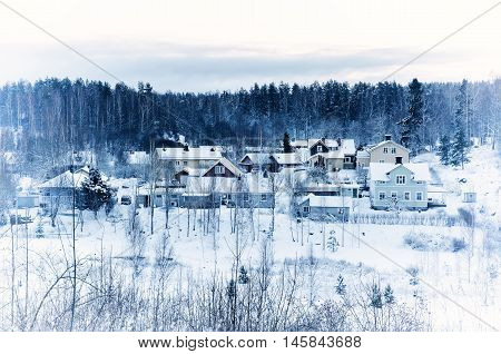 Winter landscape with trees and small swedish town, north scandinavian seasonal hipster background.