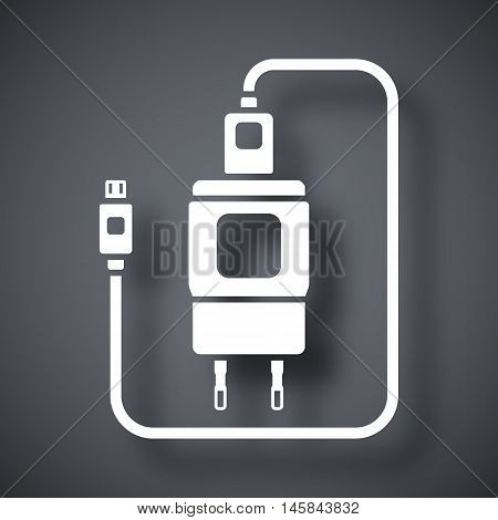 Vector Charger For Phone With Micro Usb Connector Icon. Simple Icon On A Dark Gray Background