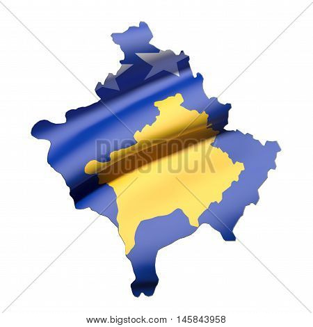 3d rendering of Kosovo map and flag on white background. poster