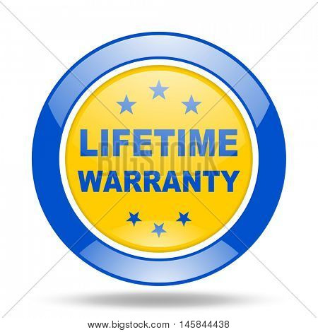 lifetime warranty round glossy blue and yellow web icon
